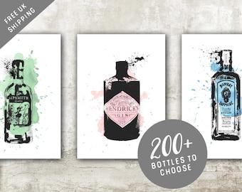 Watercolour Gin Bottle Print 8x10 A4 A5 Art Painting Poster GRUNGE