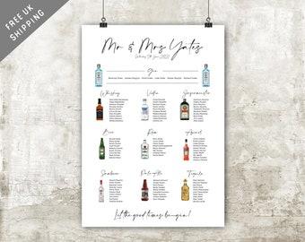 Alcohol Table Plan Seating Wedding