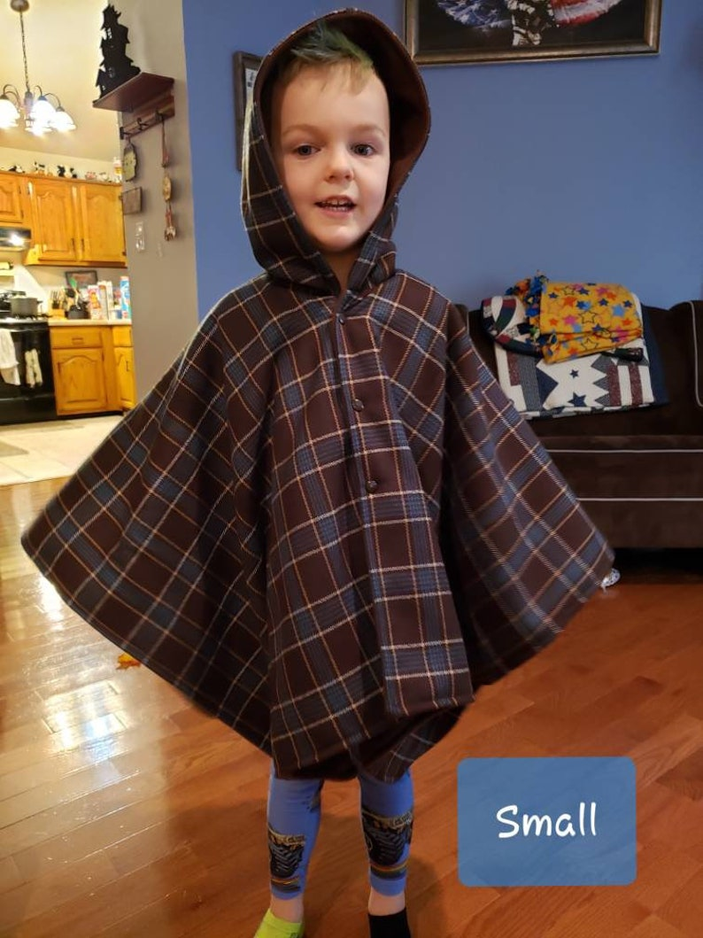 Extra heavy Brown Fleece Double Layer Carseat poncho Unisex Brown Plaid
