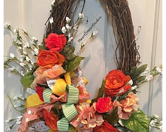 Ready to ship! Spring floral wreath.