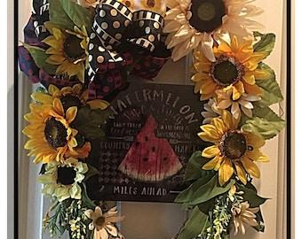 Ready to ship! Watermelon & sunflower wreath!