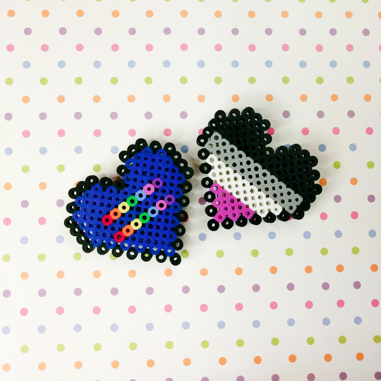 Pride Heart Sprite Magnet Perler Pixel Art Aromantic