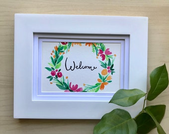 Welcome Sign, Watercolor Wreath, 4x6 original