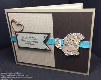 Thank You Card, Handmade Card, Cute Puppy Thank You Card, Stampin' Up! Designs