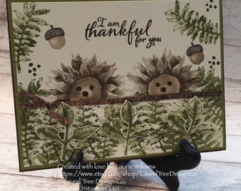 SAMPLE - Thanksgiving Card, Friendship Card, Handmade Card, Thankful for You, Hedgehogs, Fall, Adorable Card, Stampin' Up! Painted Harvest