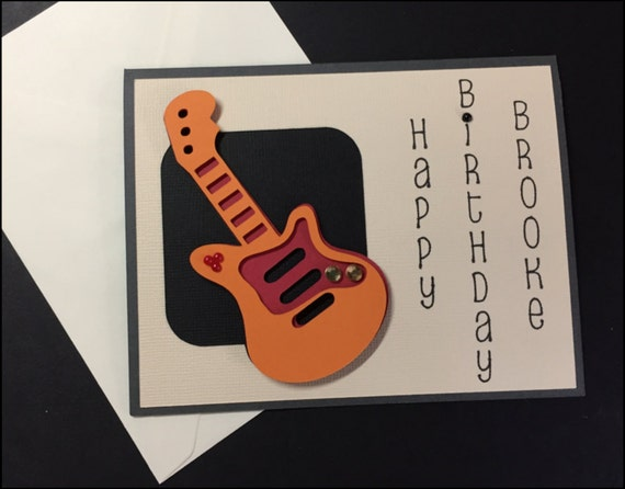 Birthday Card Handmade Masculine Guitar
