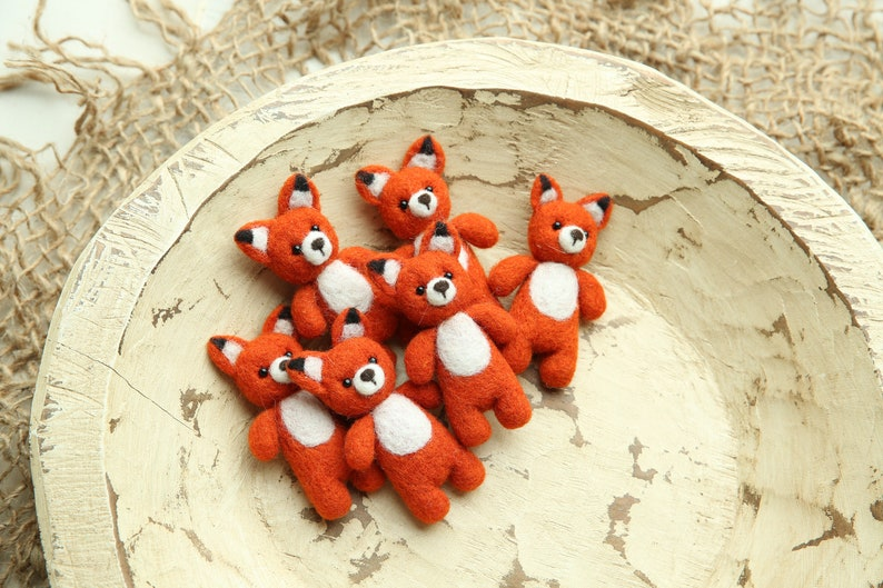 Felted  fox stuffy with beaded eyes ; newborn photography  prop; RTS