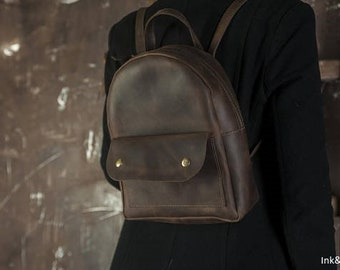 BROWN VINTAGE BACKPACK, Leather backpack for her, Mini backpack for women, Backpack with external pocket, Top handle leather rucksack