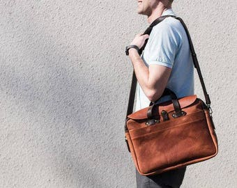 Leather bag for laptop, brown leather briefcase, briefcase for every day, leather bag for business meetings, brown business bag