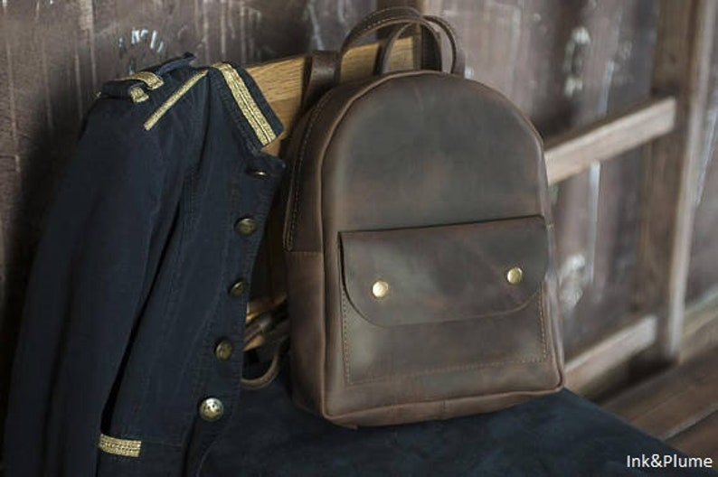 Mini backpack for women Leather backpack for her Backpack with external pocket Top handle leather rucksack BROWN VINTAGE BACKPACK