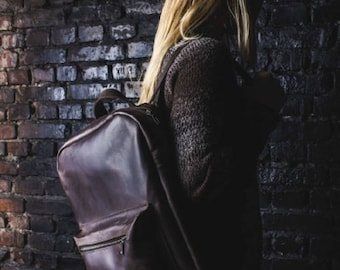 LARGE LEATHER BACKPACK, brown leather backpack, backpack with exterior pocket, leather backpack for men, leather backpack women, big bag