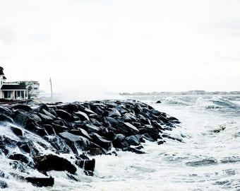 waves on rocky shore, Avalon NJ 2016.
