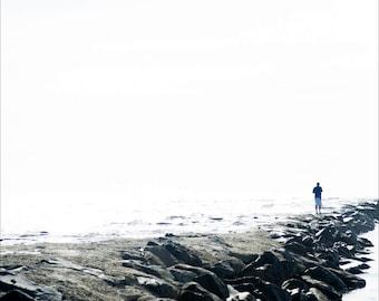 man on rocky shore, Avalon NJ 2016.