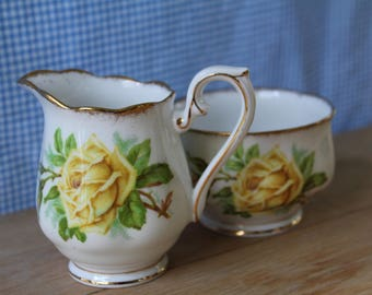 Vintage Royal Albert, Tea Rose Pattern, Open Sugar and Creamer