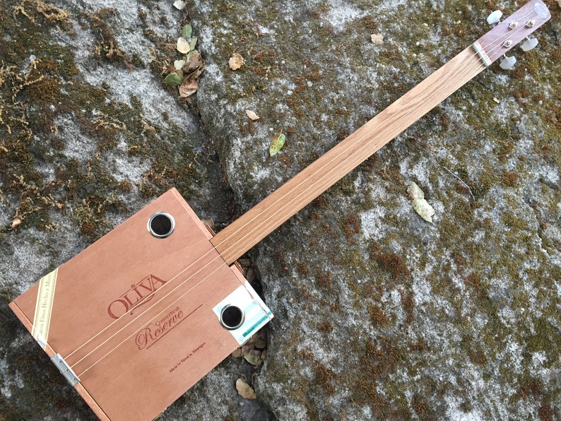 Acoustic Cigar Box Guitar  Great gift for a guitarist Free image 0