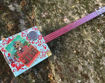 Electric/Acoustic Cigar Box Guitar - Great Island Jim Box - Purpleheart fretboard - Awesome Sound! Great gift for a guitarist!
