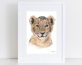 lion wall art portrait,lio watercolor painting,lion print,baby kids nursery art