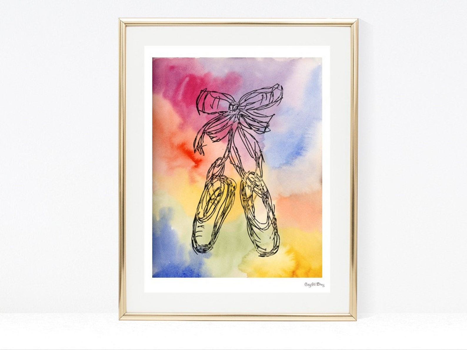ballet shoes - watercolor wall art, wall decor, nursery art print, boys room, girls room, kids art, baby shower gift