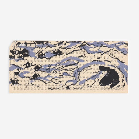 Original illustration handmade print Bookmark Linocut on a punchcard Wolf and the moon