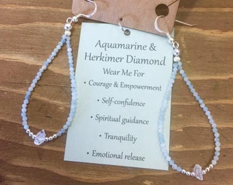 Aquamarine and Herkimer Diamond Earrings