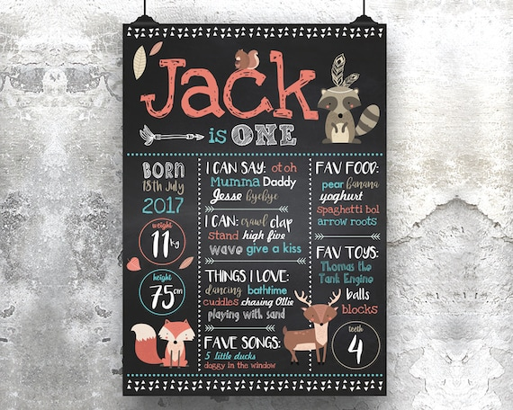 first birthday chalkboard print woodlands animal milestone etsy