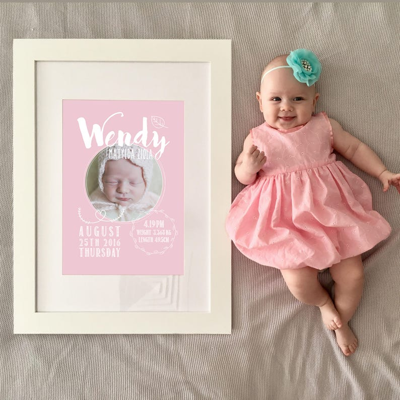 Nursery Poster Personalised Birth Announcement Digital Decor Print Circle Script Birth Print