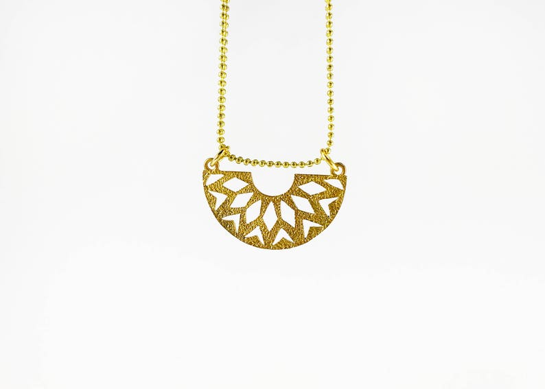 7e653c85cb02d Cleo - Hammered Geometric Gold Brass Pendant with Double Ball Chain Choker  Necklace