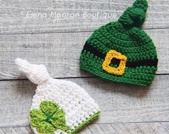9411abe8ef7 St Patrick s Day theme baby top knot hat