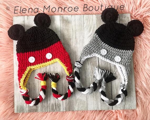 Crochet mouse hat, vintage mouse hat, mouse ears, classic mouse hat, mickey  hat, mickey beanie, mickey theme hat, mouse theme hat, mickey