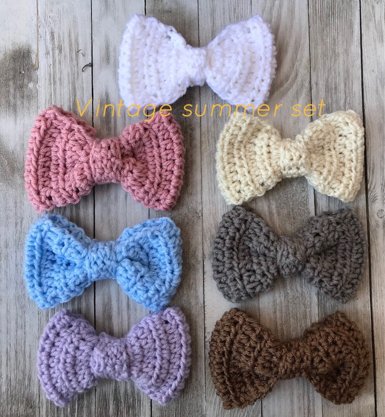 Large fluffy 5 inch crochet bow and bow sets crochet hair bow  d17bcdb0f43