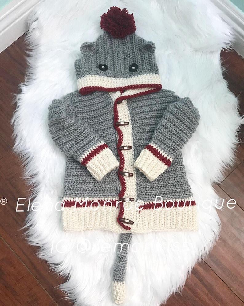 bd2a3731a Crochet sock monkey sweater sock monkey sweater all sizes