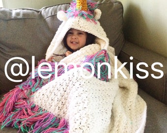 Ready to ship! Sparkling  Hooded unicorn blanket, unicorn blanket, rainbow unicorn baby-adult size