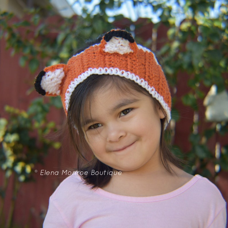 crochet fox ear warmer woodland fox head wrap Little fox headband fox headband child-adult knitted headband child-adult size