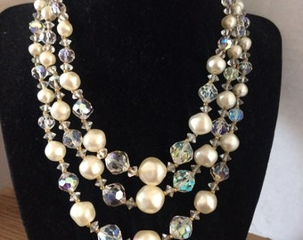 Vintage Three Strand Crystal and Faux Pearl Necklace
