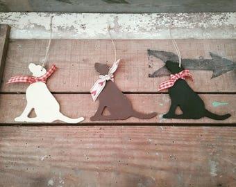 Hanging Labrador Ornament, Sitting Wooden Labrador, Handpainted Labrador Decoration, Dog Lover Gift, Labrador Lover Gift