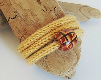 Knitting bracelet boho jewelry boho bohemian jellow wooden jewelry mothers day gift mothers day gift for her inspirational womens gift