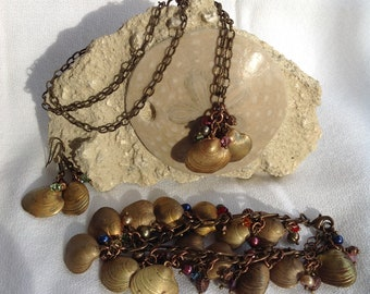 Clam Shell Charm Jewelry Set Bracelet, Pendant Necklace, & Earrings Brass Clam Shell Charms Swarovski Crystals Freshwater Pearls Copper
