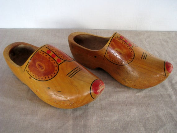 Large Swedish Hand carved wood shoes