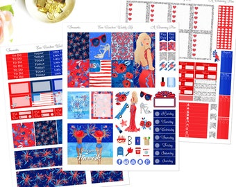 Fireworks - Printable Planner Stickers - Instant Download - 4th of July