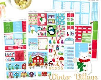 Winter Village - Printable Planner Stickers - Instant Download - Carols