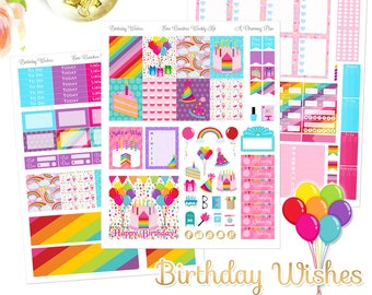 Birthday Wishes - Printable Planner Stickers - Instant Download