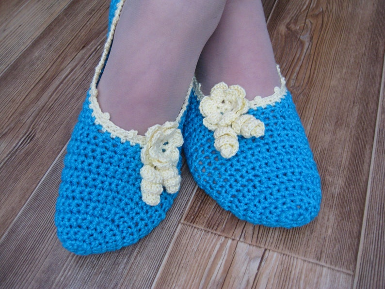 Crochet Ballet Slippers Blue Turquoise Color Cotton Two Etsy