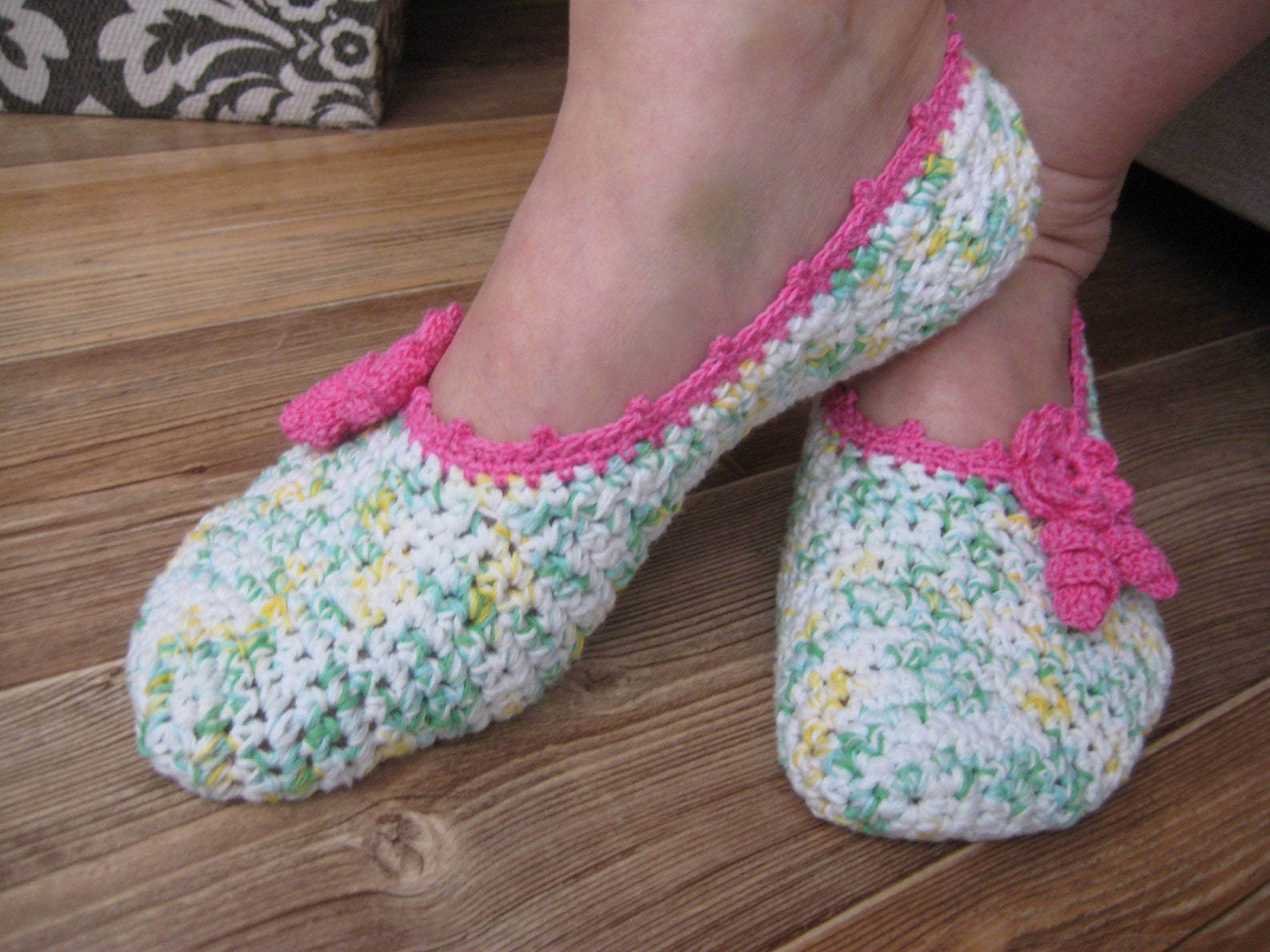 crochet ballet slippers, color, cotton, two flower decoration, gift for woman for mom for girlfriend, home slippers, no soles