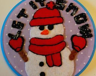 Handmade felt art embroidery hoop