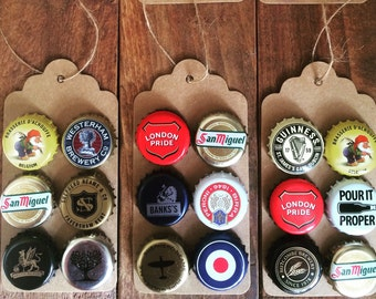 Handmade Beer Bottle Cap Fridge Magnets Six Pack Strong Collectable Fun Gift Christmas Stocking