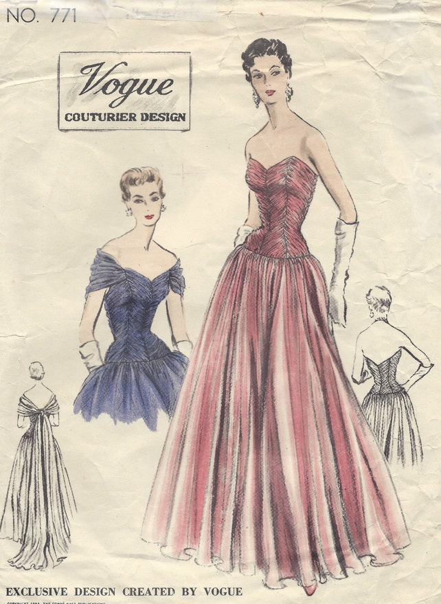 1953 Vintage VOGUE Sewing Pattern B32 EVENING Dress & Evening | Etsy