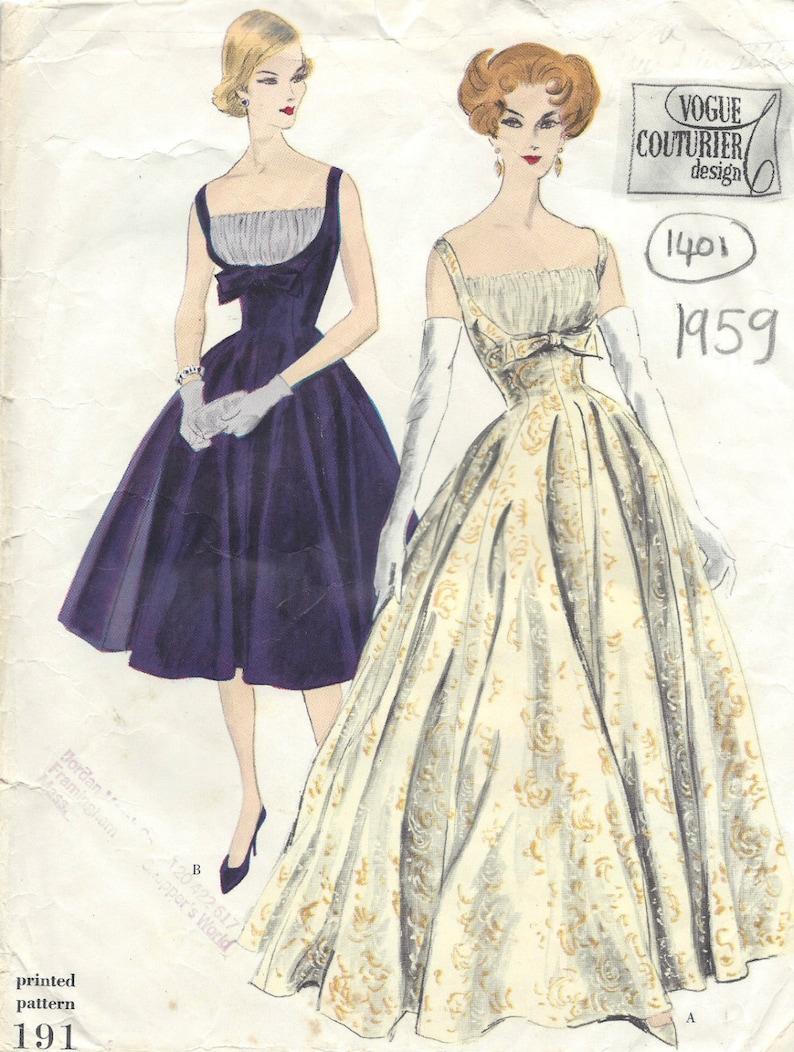 01c3c8320418 1959 Vintage VOGUE Sewing Pattern B32 DRESS 1405 Vogue 191 | Etsy