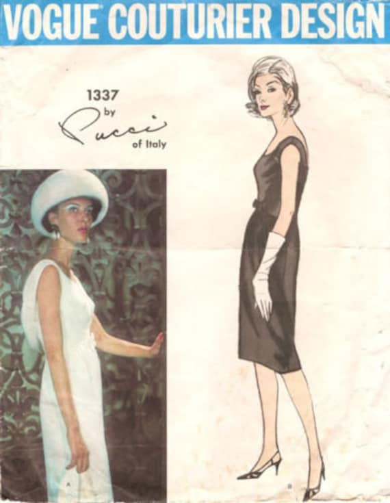 """By PUCCI of ITALY 1964 Vintage VOGUE Sewing Pattern B34/"""" DRESS 1575"""