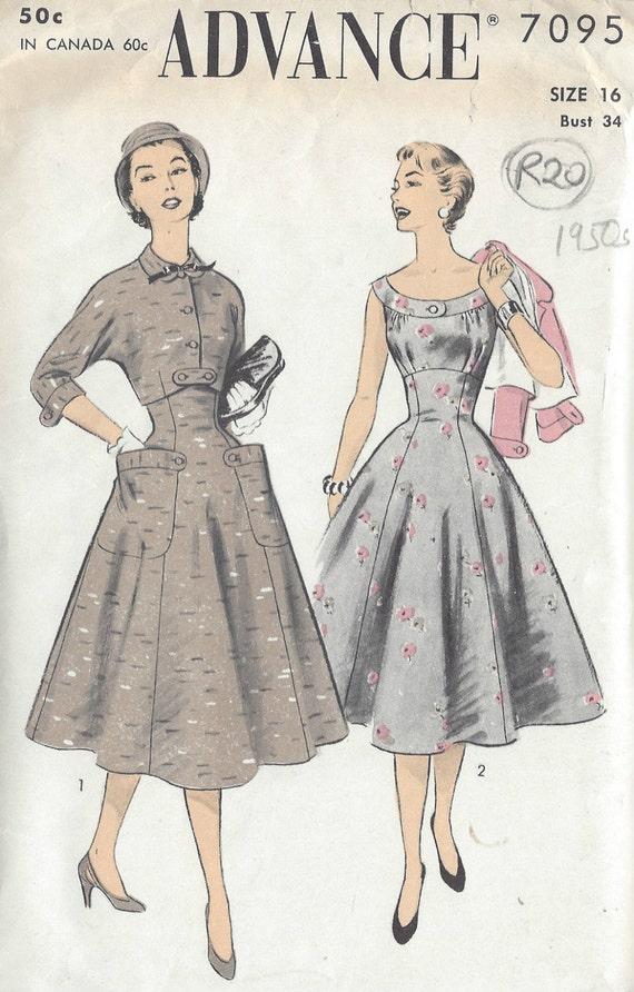 1950s Vintage Sewing Pattern DRESS & JACKET B34 R20 | Etsy