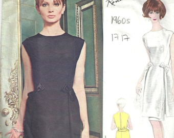 1960s Vintage VOGUE Sewing Pattern B34 DRESS (1717) By Ronald Paterson Vogue 1615